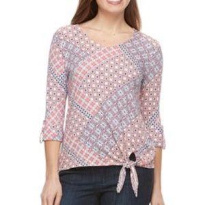 Croft & Barrow Petite Side Tie V Neck Shirt sz PS